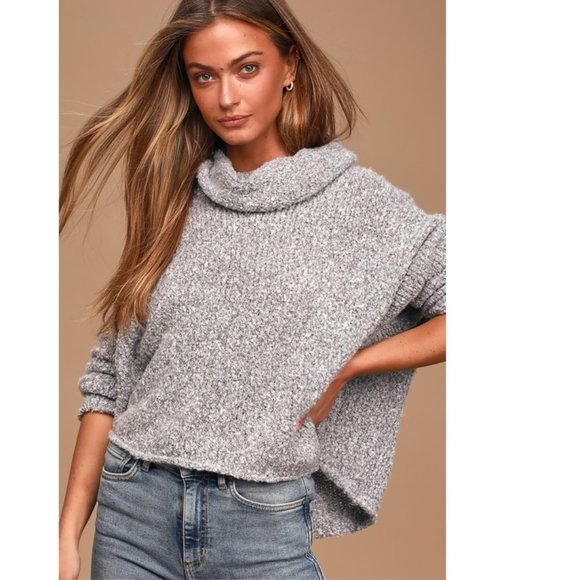 Free People Womens Sweatshirt Heather Small Cowl Neck Gray S